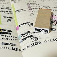 【TECHO TIME(手帳タイム)】英字スケジュール文字はんこ*8㎜×20㎜*ラバースタンプ*R498_o