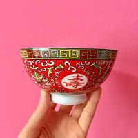 台湾 お茶碗 赤