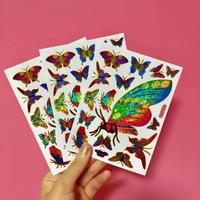 蝶々 キラキラ シール 3枚セット ⑥  BUTTERFLY STICKER
