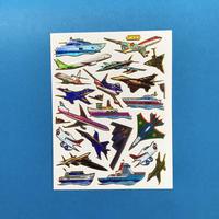 飛行機と船 キラキラ シール AIRPLANE AND SHIP STICKER