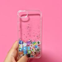iPhoneケース 7 シルバー&緑ラメ アイコン