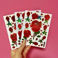 薔薇 ローズ ② キラキラ シール 3枚セット ROSE STICKER