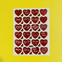 ハート タイ語 赤 ⑤  シール  THAI RED HEART STICKER