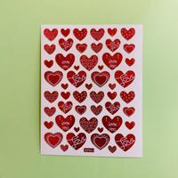 ハート 赤 ④ キラキラ シール RED HEART STICKER
