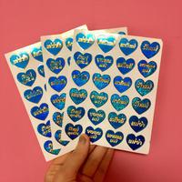 ハート タイ語 青 シール  キラキラ 3枚セット ステッカー  THAI BLUE HEART STICKER