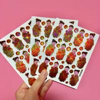 中国 子供達 キラキラ シール 3枚セット Chinese children sticker
