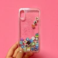iPhoneケース X シルバー&緑ラメ アイコン