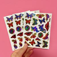 蝶々 キラキラ シール 3枚セット ②  BUTTERFLY STICKER