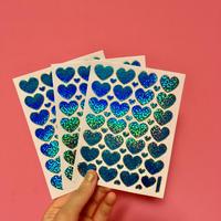 ハート ブルー キラキラ シール 3枚セット blue heart sticker