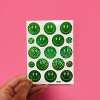 スマイル 緑 ② キラキラ シール  SMILE STICKER GREEN