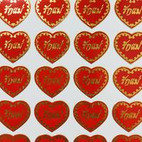 タイ語 ハート 赤 シール THAI HEART RED STICKER