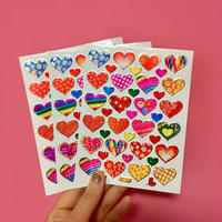 ハート 模様 キラキラ シール 3枚セット heart pattern sticker