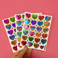 ハート カラフル 英語 キラキラ シール 3枚セット colorful heart english sticker