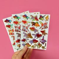 金魚 キラキラ シール 3枚セット GOLDFISH STICKER