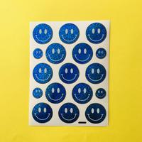 スマイル 青 キラキラ シール  SMILE STICKER BLUE