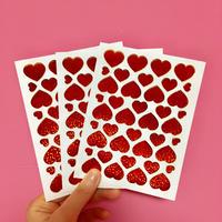 ハート 赤 キラキラ シール 3枚セット red heart sticker