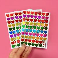 ミニハート カラフル キラキラ シール 3枚セット ② mini colorful heart sticker
