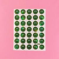スマイル 緑 ③ キラキラ シール  SMILE STICKER GREEN
