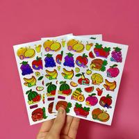 フルーツ キラキラ シール 3枚セット ④  fruit stickers