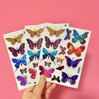 蝶々 キラキラ シール 3枚セット⑩  BUTTERFLY STICKER