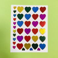 ハート カラフル ③ キラキラ シール COLORFUL HEART STICKER