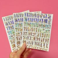 タイ語 文字 キラキラ シール3枚セット シルバー  Thai Letter sticker silver