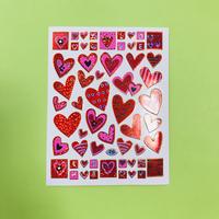 ハート 赤 ② キラキラ シール red heart sticker