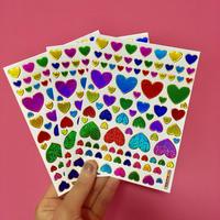 ハート カラフル キラキラ シール 3枚セット ② colorful heart sticker
