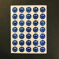 スマイル 青② キラキラ シール  SMILE STICKER BLUE