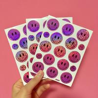 スマイル シール 3枚セット ステッカー 薄い紫  SMILE STICKER LIGHT PURPLE