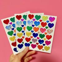 ハート カラフル キラキラ シール 3枚セット colorful heart sticker