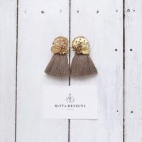 Tassel earrings-Gold×Tan