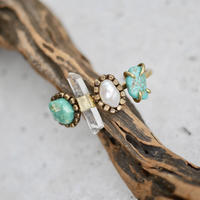 「Turquoise×Crystal×Fresh water pearl」Gemstones bangle