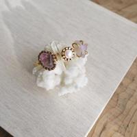 「Amethyst×Crystal×Fresh water pearl」Gemstones bangle