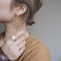 Brass coral earrings