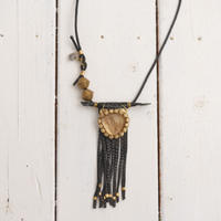 Crocodile×Smoky quartz necklace