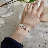 Moonstone×Crystal×Harkimer diamond bangle-925