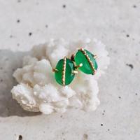Green onyx dot earrings