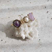 「Amethyst×Crystal×Fresh water pearl」Gemstones bangle
