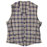 "LARDINI(ラルディーニ)""Cotton Wool Nep Linen Check Gillet"""