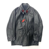 Vintage French Fireman Leather Coat