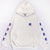 Nu Blend Sweat Pullover Hoodie Sleeve Logo Print<19526-A_WHITE>