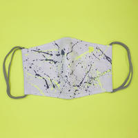 DENIM MASK- 3421  white/gray×neon yellow  Mサイズ