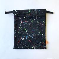 BACK PILE  POUCH   -3347 black/neon 24cm×20cm