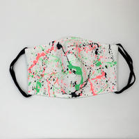 DENIM MASK- MASK-3222 white/soft green×neon red×black  Mサイズ