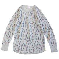 JE MORGAN / レディース 花柄サーマル L/S TEE GREY Tシャツ モーガン