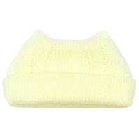 【折り返し付】猫耳ニット帽 ライトクリーム[T20]