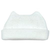 【折り返し付】猫耳ニット帽 オフホワイト[T20]