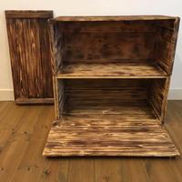 焼き目 蓋付 りんご箱 2箱 / 販売 木箱 ウッドボックス 収納 箱
