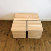 新品 「蓋付 りんご箱 1箱」×「蓋付  巾1/2  木箱  2箱 」